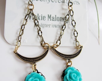 Turquoise Flower Earrings, Brass Crescent, Long Dangle Drop, Vintage Style, Blueartichokedesigns