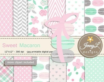 50% OFF Pastel Macaron Digital Papers and clipart SET, Mint and Pink Cookie, French Macaron for Digital Scrapbooking, Birthday invitations,