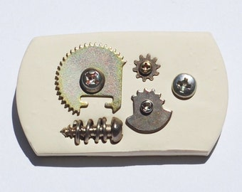 Steampunk Brooch- Silver Gears Brooch, Hardware Brooch, Cyberpunk Pin, Steampunk Jewelry, Hardware Jewelry, Contemporary Jewelry, White Pin