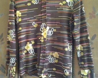 70s brown flowered shirt