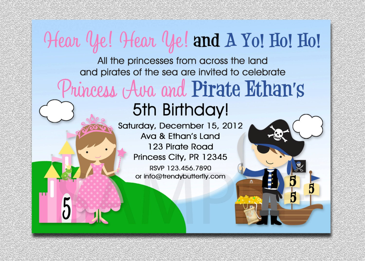 Princess Pirate Birthday Invitation Princess and Pirate Party