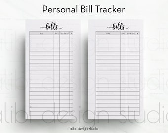 Bill Tracker, Personal Planner, Printable Planner, Bill Inserts, Financial Planner, Bill Calendar, Budget Planner, Bill Organizer