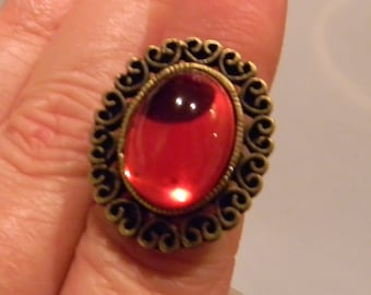 Queen's Renaissance Medieval Cabochon Gemstone Ring-  Adjustable