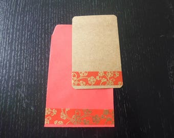 20 + 20 cards pockets decorated with a red and gold floral pattern: Japanese effect