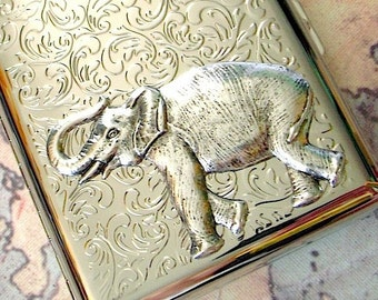 Metal Cigarette Case Silver Elephant Cigarette Case Vintage Style Silver Plated Metal Wallet Victorian Safari Animal Silver Cigarette Case