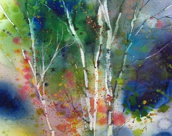 Mother's Day Gift ENCHANTED FOREST Watercolor Print Deborah Swan McDonald Signed Forest painting USA poster 16 x 20 inches  Ready to frame