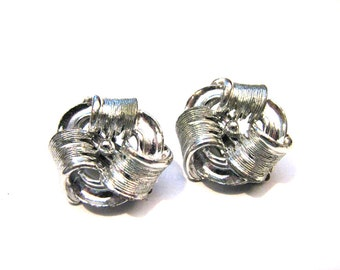Vintage Lisner Silver Tone Textured Swirled Knot Clip Earrings