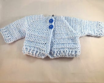 0-3 month Baby Boy Blue Crochet Sweater, Christening, Baptism, Easter