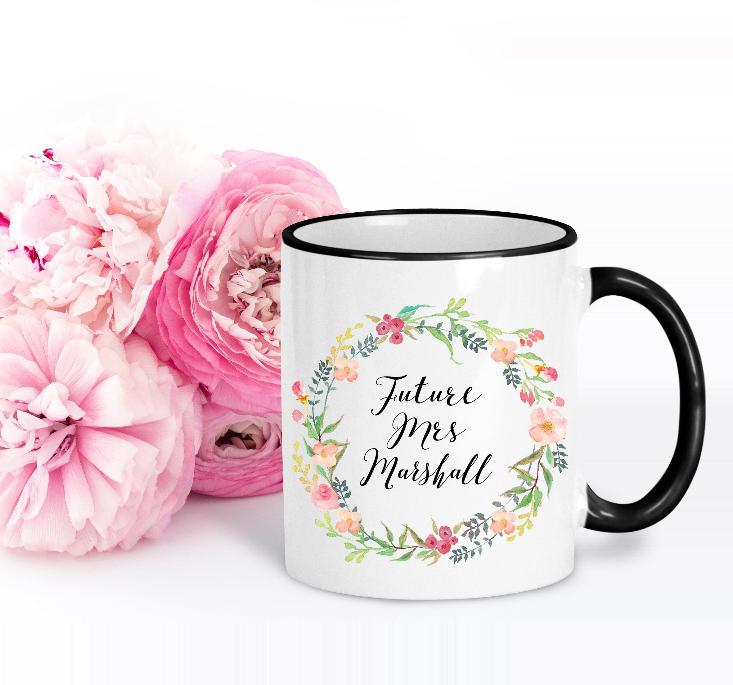 Floral Gift for Bride Future Mrs Mug Engagement Gift