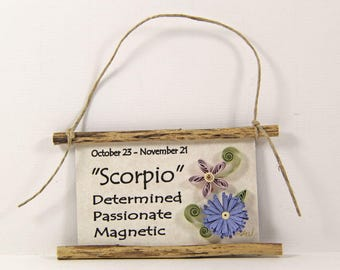 Zodiac Magnet, 3D Paper Quilled, Scorpio Star Sign, October 23 to November 21, Birthday Gift, Zodiac Ornament, Astrology Sign, Zodiac Decor