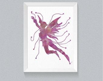 watercolor fairy wall decor Fairy Art Print Fairy Nursery Decor Purple Nursery Decor Purple Girls Room Nursery wall art Purple wall decor 66