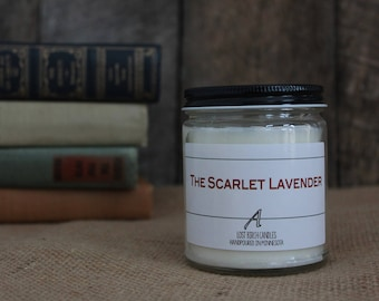 The Scarlet Lavender - Book Inspired Scented Soy Candles -  8oz glass jar