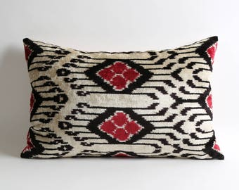 White & Black handwoven hand dyed lumbar silk velvet ikat pillow cover 15x23 ethnic bohemian home decor