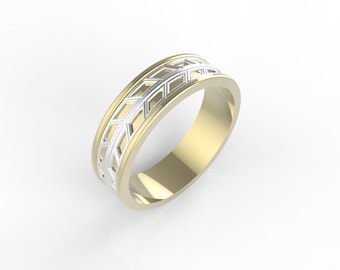 wheat inspired mans wedding band, man gold  wedding band two tone, man gold  wedding band