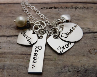 personalized necklace-personalized jewelry-sterling silver necklace-handstamped mommy necklace-charm necklace-gift for mom-gift for grandma