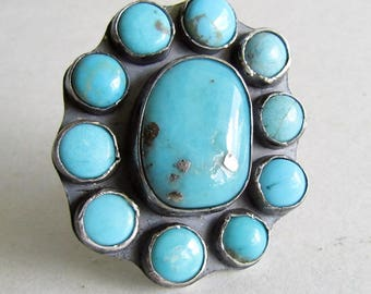Campitos Turquoise Cluster Ring - Size 9 Turquoise Ring - December Birthstone - 25th Anniversary Gift - Statement Ring