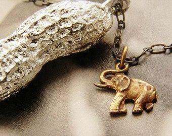 Circus Peanut Necklace - life size peanut in silver with elephant necklace, silver peanut necklace