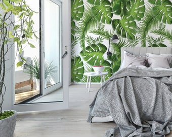 Pastel Effect Palm Leaves Wallpaper, Various Colours Available, Wallpaper for Home Decor, DIY Wallpaper, Peel & Stick or Traditional