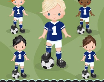 Soccer clipart. Sport graphics, boys soccer player characters, planner stickers, commercial use, kids, scrapbooking, embroidery, chores