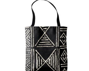 Mud Cloth Abstract Geometric Print Market Tote, Black and Off-White African Boho Print Bag