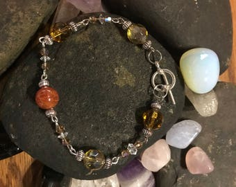 Fire Agate - Swarovski and Czech Glass Bracelet