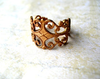 Vintage Brass Ring - Vintage Filigree Ring - Solid Brass - Bohemian Ring - Bohemian Jewelry