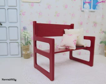 Panchina rossa new style in legno per Blythe doll