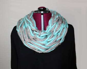 Mint Teal and Grey Knit Cowl Scarf