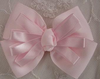 PINK Grosgrain Satin Ribbon Bow Applique Bridal Baby Hair Accessory