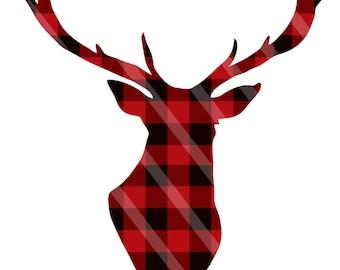 Red Plaid Lumberjack Deer Digital Download Two Styles for iron-ons, heat transfer, Scrapbooking, Cards, Tags, DIY, YOU PRINT