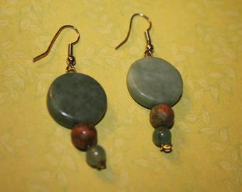 Soapstone Green Discs With Orange and Green Stone Bead Drop Earrings