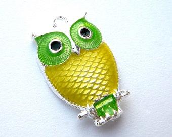 Silver Plated Enamel Owl-Lemon and Lime- PENDANT- 1 piece