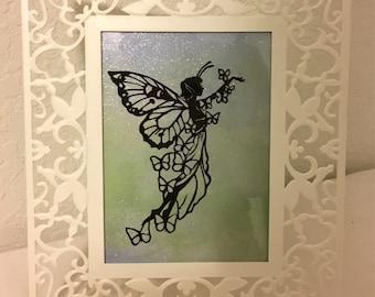 Fairy Tale Hand Cut Silhouette/ Faerie/ Tinkerbell / Vintage Style Silhouette / Antique Style Silhouette