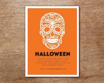 Dia De Los Muertos Skull Printable Halloween Party Invitation