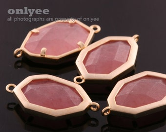 2pcs-23mmX12mmMatte Silver plated Brass Faceted Glass Framed Nature Stone Connectors-Rose Aventurine(M345S-F)
