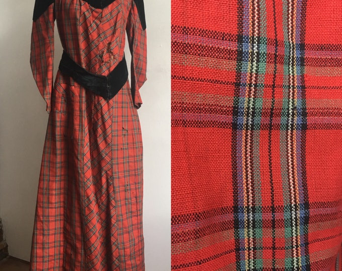 Victorian Tartan  Wool Holiday Dress size S