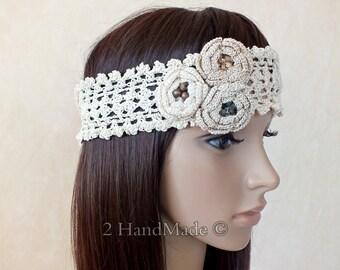 OOAK Irish Lace 3D Crochet Headband Dreadlock Head Wrap Boho Ivory Beige Wooden Beaded Women Ivory Wedding Bridal Cotton Hair Snood