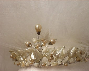 CLASSIC:   ROMANTIC TIARA -Motherpearl and pearls. For Traditional Bride- Original Fascinator