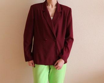 NOS Burgundy Red Blazer Women's Blazer Double Breasted Blazer Vine Red Jacket Padded Shoulders Large/ XL Size