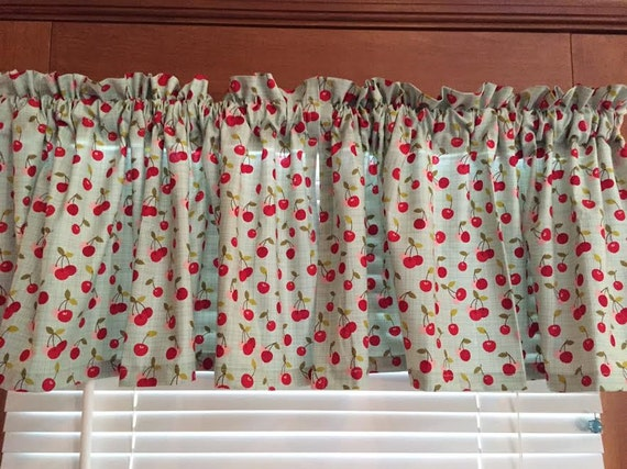 Teal Green with Cherries Window Valance ~ 42