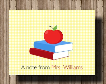 BACK TO SCHOOL Personalized Teacher Notecards/ Teacher Gift/ Folded Notecards Boxed Set of 10/ Teacher Stationery/ Teacher Thank You Cards