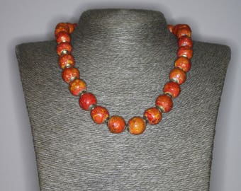Tyre beads |Beaded Necklace |Rusty look.