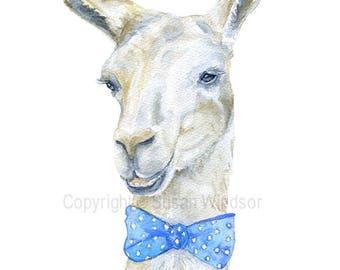 Llama with a Blue Bow Tie Watercolor Painting Fine Art Print 8 x 10 - 8.5 x 11 - Nursery Art Print Giclee Nursery Decor