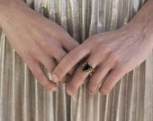 Orna Ring - Onyx Antique style texture Ring set on solid yellow bronze-made to order