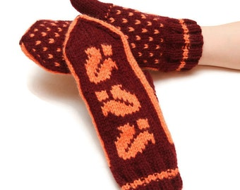 Traditional patterned mittens - orange mittens, yellow pattern, traditional mittens, warm winter mittens, warm mittens, bell pattern