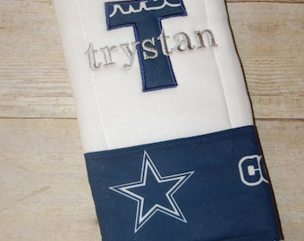 Gunnybunnyboutique on etsy dallas cowboys 6 ply burp cloth personalized with applique and name or i drool silver and negle Choice Image