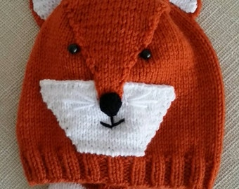 Fox  Hat, hand knit.