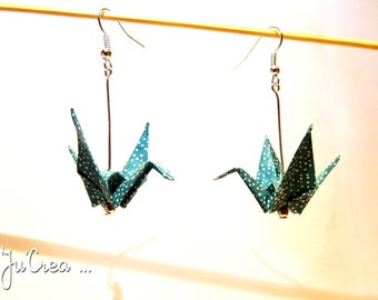 Blue teal Origami crane earrings