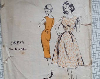 "1960s Dress - 36"" Bust - Practical Pattern No. 4855 - Vintage Retro Sewing Pattern"