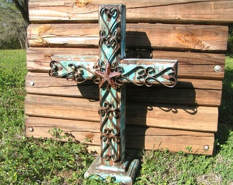 LARGE Wood and Iron Standing Cross Rustic Custom made USA 0349